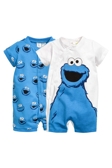 2-pack all-in-one pyjamas - Blue/Sesame Street - Kids | H&M 1