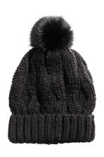 Cable-knit hat - Black - Ladies | H&M CN 1