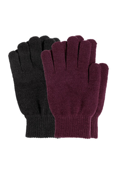 2-pack gloves - Burgundy/Black - Ladies | H&M CN 1