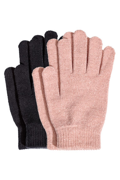 2-pack gloves - Powder pink/Black - Ladies | H&M IE 1
