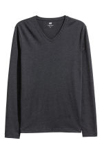 Long-sleeved T-shirt Slim fit - Dark grey - Men | H&M CN 2