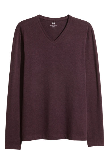 Long-sleeved T-shirt Slim fit - Burgundy - Men | H&M CN 1