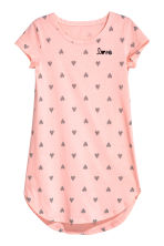 Printed nightdress - Powder pink/Hearts - Kids | H&M CN 1