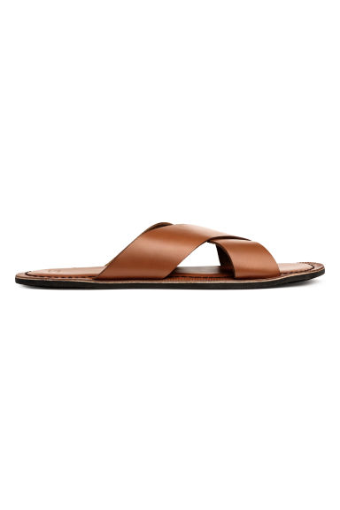 Leather sandals - Cognac brown - Men | H&M CN