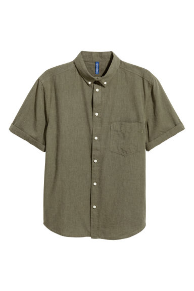 Short-sleeve shirt Regular fit - Khaki - Men | H&M CN 1