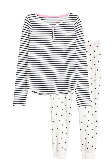 Tricot pyjama - Donkerblauw/wit - KINDEREN | H&M BE 1