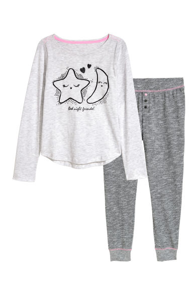Jersey pyjamas - Grey/Star - Kids | H&M 1