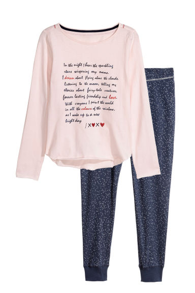 Jersey pyjamas - Light pink/Dark blue - Kids | H&M CN 1