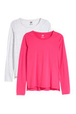 2-pack tops - Raspberry pink/Light grey -  | H&M 2