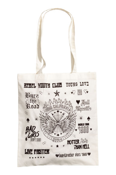 Printed tote bag - White/Print - Ladies | H&M 1