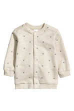 Sweatshirt cardigan - Light beige marl/Stars - Kids | H&M 1