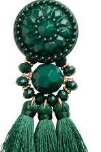 Earrings with tassels - Dark green - Ladies | H&M 2