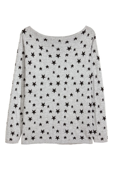 H&M+ Fine-knit jumper - Grey/Stars - Ladies | H&M CN
