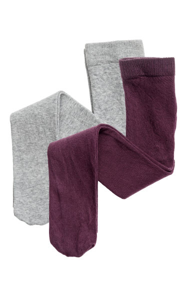 2-pack tights - Dark purple - Kids | H&M CN 1