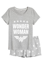 Pyjamas with top and shorts - Grey Wonder Woman - Ladies | H&M 2