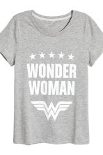 Pyjamas with top and shorts - Grey Wonder Woman - Ladies | H&M 4