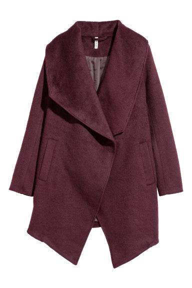 Wool-blend bouclé coat - Burgundy - Ladies | H&M