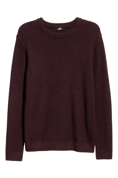 Textured-knit jumper - Burgundy/Black marl - Men | H&M GB