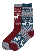 2-pack socks - Grey-blue/Patterned - Ladies | H&M IE 1