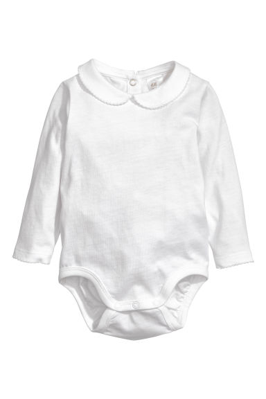 Bodysuit with a collar - White -  | H&M CN 1