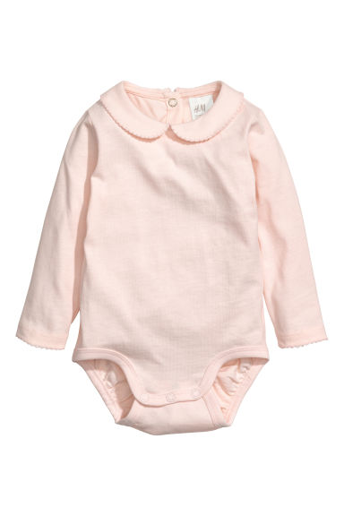 Bodysuit with a collar - Light powder pink -  | H&M CN
