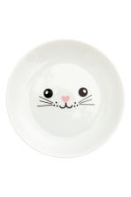 Plate with a print motif - White/Cat - Home All | H&M IE 2