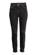 Boyfriend Slim Low Jeans - Black denim -  | H&M 2