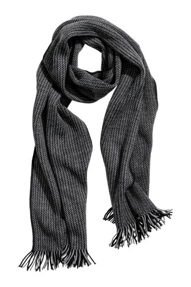 Knitted scarf - Dark grey/Black -  | H&M