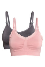 MAMA 2-pack soft nursing bras - Pink/Grey - Ladies | H&M 2