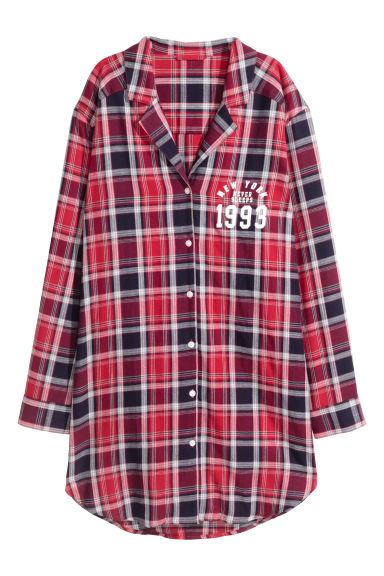 Flannel night shirt - Red checked/New York - Ladies | H&M GB