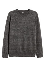 Fine-knit cotton jumper - Black marl - Men | H&M 2
