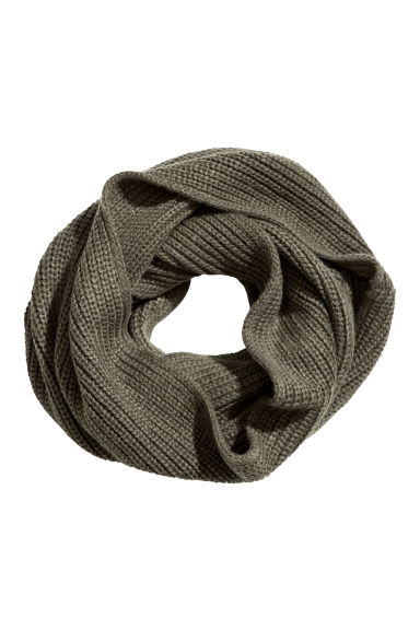 Rib-knit tube scarf - Khaki green - Men | H&M CN 1