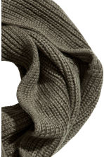 Rib-knit tube scarf - Khaki green - Men | H&M CN 3