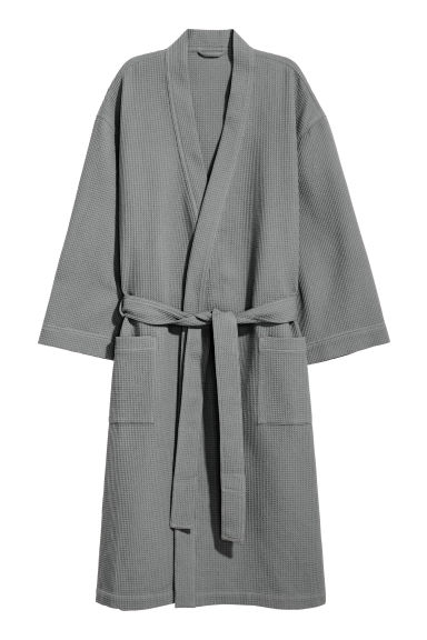 Waffled dressing gown - Dark grey - Home All | H&M CN 1