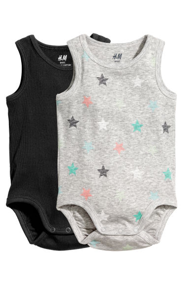 2-pack sleeveless bodysuits - Grey/Stars -  | H&M