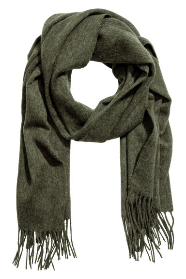 Wool scarf - Moss green - Men | H&M CN 1