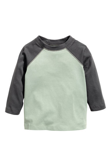 Long-sleeved T-shirt - Light green/Dark grey -  | H&M 1