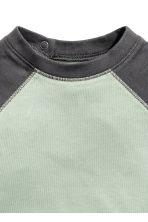 Long-sleeved T-shirt - Light green/Dark grey -  | H&M 2