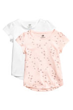 2-pack jersey tops - Powder pink/Butterflies - Kids | H&M 1