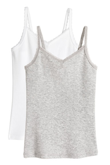 2-pack tops with lace - White -  | H&M CA 1