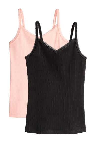 2-pack tops with lace - Black -  | H&M CA 1