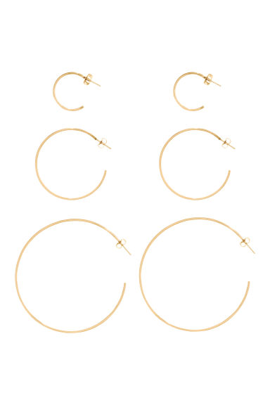 3 pairs hoop earrings - Gold -  | H&M 1