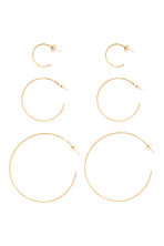 3 pairs hoop earrings - Gold - Ladies | H&M CN 1