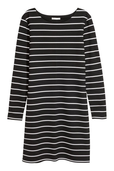 Jersey dress - Black/White striped - Ladies | H&M