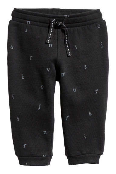Sweatpants - Black/Letters -  | H&M CN 1