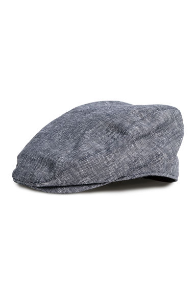 Linen-blend flat cap - Dark blue marl - Men | H&M CN 1