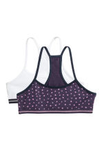 2-pack crop tops - Dark purple/Stars -  | H&M CN 1