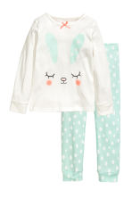 Jersey pyjamas - White/Mint green - Kids | H&M 1