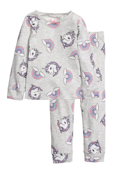 平紋睡衣套裝 - Light grey marl/Unicorns - Kids | H&M 1