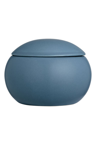 Round stoneware box - Dark blue -  | H&M CN